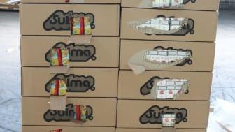 Pallets of pasta cigarette smuggler jailed - Boxes of pasta and cigarettes (SE 17.16)