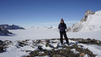 Dr Kate Winter at Keteler's Glacier in Antarctica earlier this year
