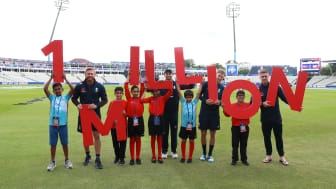 England players, Bairstow, Wood, Root & Roy celebrate 1 million kids connecting with cricket ahead of their World Cup semi-final tomorrow