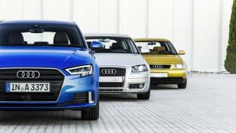 Audi A3, Generation 1 fra 1996,  Generation 2 fra 2004, Generation 3 fra 2016