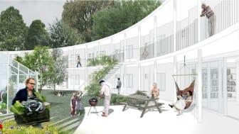 Visualisering af det nye seniorbofællesskab, Ovalen, i Boligselskabet AKB, Albertslund. Illustration: Vandkunsten.