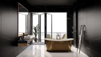 Silestone Eternal Noir som väggbeklädnad och handfat