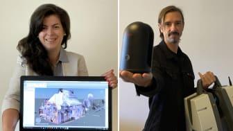 Rådgiverne Artemis Valanis og Erik Gustafson er gjester i Prosjektkontoret, der de forteller om bruk av ScanToBIM. (Foto: Norconsult)