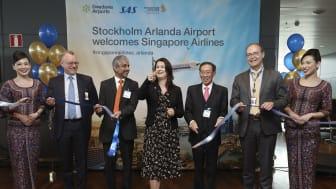 Flyglinjen Stockholm - Singapore invigdes på Arlanda idag av handelsminister Ann Linde, Swedavia och Singapore Airlines. Foto: Sören Andersson