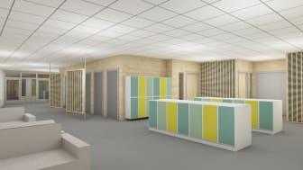 Exempel på interiör i den kommande skolbyggnaden som bland annat ska rymma tillagningskök, matsal och klassrum.