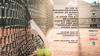 Svenska Padelförbundet satsar 500 000 SEK på Padellyftet för barn och ungdomar.