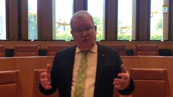 Kommunfullmäktiges ordförande Anders Teljebäck (S) inför kommunfullmäktiges sammanträde 2 september