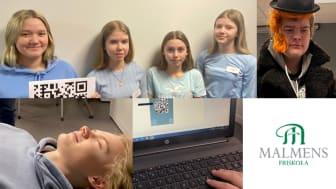 Elevernas arbete är nu i full gång. QR koder skapas, namnskyltar fixas och filmer spelas in.