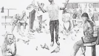 Del av verket Tramlines av Phoebe Boswell, som elever från Lövgärdesskolan under våren skapar egna versioner av.