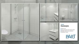 Part levererar 81 badrum till projektet Kastanjen i Norge.