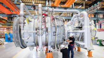 Siemens gasturbin SGT-800 i turbinverkstaden hos Siemens i Finspång