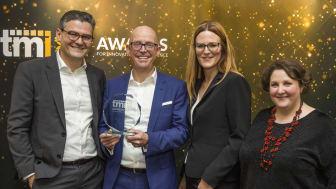 Erol Bozak, CPO (TIS), Jörg Wiemer, CEO (TIS), Dr. Daniela Maruhn, Head of Customer Success (TIS) und Séverine Le Blévennec, Senior Director Treasury EMEA (Honeywell) at the TMI Awards Ceremony in London. credit: TMI