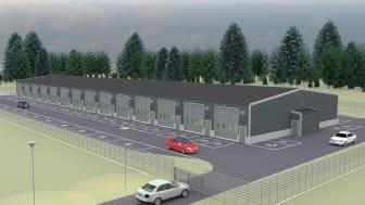 Skiss av den nya företagsparken i Hedensbyn, Skellefteå