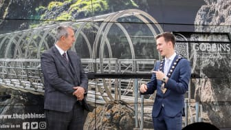 Agriculture, Environment & Rural Affairs Minister Edwin Poots MLA, pictured outside The Gobbins Visitor Centre, with Mayor of Mid and East Antrim, Councillor Peter Johnston