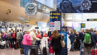 Totalt 2 560 000 passagerare reste till eller från Stockholm Arlanda Airport i juli 2017, en ökning med nio procent jämfört med samma månad förra året. Foto: Daniel Asplund
