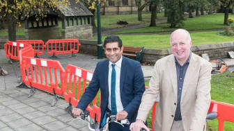 At the new crossing in Radcliffe are (left) Cllr Rishi Shori, leader of Bury Council, and Cllr Chris Paul, TfGM Committee Cycling and Walking Champion.
