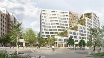 Södra Hagalund_Vy från Solnavägen vid nytt torg och nytt kontor_dag_BSK Arkitekter