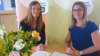 Fredagen den 28 juni signerades avtalet mellan Skyddsvärnet och Sigtuna kommun. Helen Kavanagh Berglund, biträdande kommundirektör och Nilla Helgesson, VD Skyddsvärnet ser fram emot samarbetet.