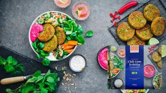 Kung Markattas nya växtbaserade Chili Lime Ärtbiffar med protein, fibrer och goda kryddor. De tillagas på Österlen av ekologiska råvaror.