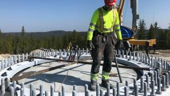 I detta projekt har totalt nio fundament gjutits med Sikagrout®-3500 WP