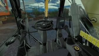 Cat M314 hjulgrävmaskin - inuti hytten