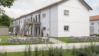 Illustration av entrésida i det nya kvarteret BoKlok Sierslunden i Varberg.