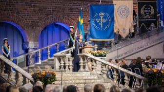 Hedersdoktorerna promoveras vid universitetets årliga installations- och promotionshögtid. Foto: Niklas Björling