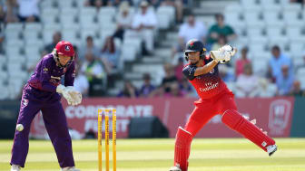 England's Sophia Dunkley and Amy Jones during the Kia Super League. Photo: Getty Images
