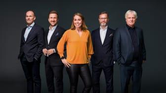 Fra venstre: Geir Oustorp, Daniel Høglund, Karoline Dyhre Breivang, Christian Ramberg, Frode Kyvåg. Foto: Rune Bendiksen/NENT Group
