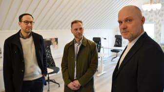 Sakarias Winberg, ordförande Företagarna Leksand, Björn Rinstad, vd Leksands Sparbank och Lars Liljegren, projektledare Företagsakuten Leksand-Rättvik-Gagnef