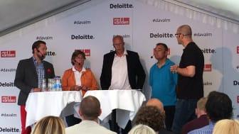 I panelen deltog Günther Mårder, Företagarna, Ulrika Francke, Tyréns/Bokriskommittén, Bengt Hansson, Boverket och Jonas Spangenberg, BoKlok.
