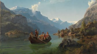 Hans Gude and Adolph Tidemand, Bridal Voyage on the Hardanger Fjord