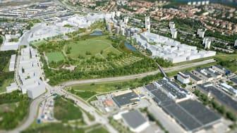 Visionsbild över Årstafältet från Stockholms Stads hemsida.