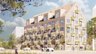 Höllviken office hub heter det vinnande förslaget, och det planeras stå klart för inflyttning 2022. Bild: Krook & Tjäder.