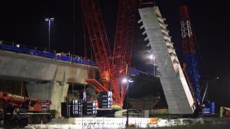 Sydney Metro skytrain bridge tower installation at night. Picture from Sydney Metro.