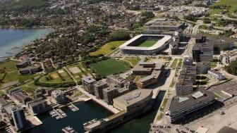 Siden Hinna Park startet forvandlingen av Jåttåvågen fra industriområde i 2001 har bydelen blitt ett attraktivt knutepunkt i Stavanger-regionen. (Foto: Hinna Park Facility Management AS)