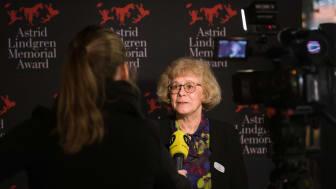 Jury Chair Boel Westin at the Astrid Lindgren Memorial Award announcement in 2019.