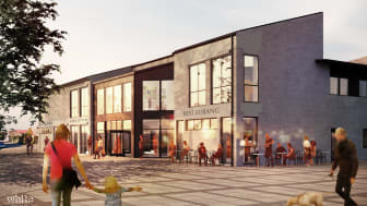 Visionsskiss av nya Stadsbiblioteket sett från Stortorget. Illustration: White