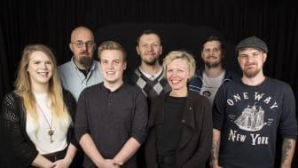 Gruppen från Högskolan i Skövde bakom spelet Marvinter. Från vänster: Anita Stenholm, Henrik Engström, Viktor Zryd, Arslan Trusic, Jenny Brusk, Per Anders Östblad, Tobias Karlsson.