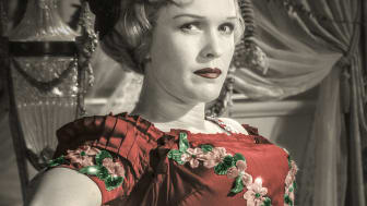 Eva Dahlbeck från filmen Sommarnattens leende, 1955 av Ingmar Bergman.