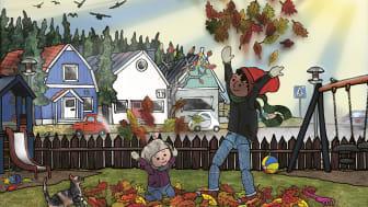 Pixie och pappa - på höstpromenad, är en fint illustrerad bilderbok för barn 3-6 år.