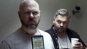 Jonas Schmidt og Morten Jørgensen spiller de to betjente i 'Afhøring', der får premiere på C More den 16. december.