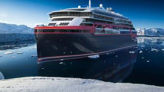 """Hurtigrutens nye hybridskip MS """"Roald Amundsen"""" skal fra 2018 i perioder seile lydløst og utslippsfritt langs iskanten i Antarktis."""