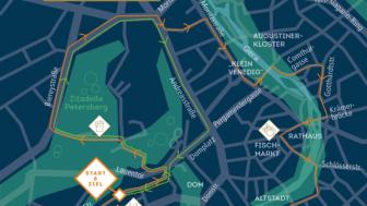 Der Streckenverlauf führt vom Theaterplatz in Richtung Altstadt.