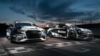 Jessica och teamkompisen Tobias Brinks Audi RS 3 LMS bilar för helgen på Anderstorp. Foto: Brink Motorsport (fria rättigheter att använda bilden)