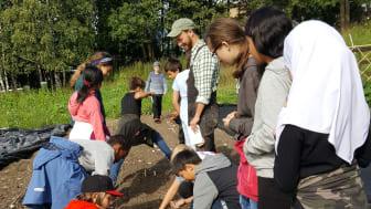 Elever som dyker på Tveten andelsgård med prosjektleder Markus Brun Hustad