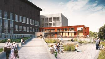 Hallands konstmuseum när det står färdigt, juni 2019.  Arkitekter och illustration: White.