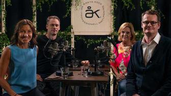 Anna Ryott, Stefan Eriksson, och Annika Grälls tillsammans med moderator Per Schlingmann i samtalet Gastrotech under Årets Kock Talks.