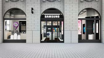 Skissbild av Samsungs butik på Kungsgatan