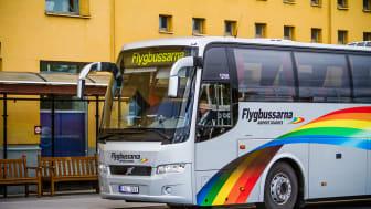 Samtliga av Flygbussarnas fordon drivs av fossilfritt bränsle